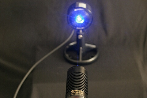 RPL portable blue laser in operation (RPL-blue-30 shown)